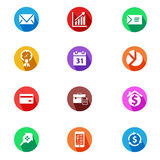 Business and finance flat design icons set Stock Photo