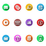 Business and finance flat design icons set Stock Photography