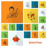 Business and Finance Icon Set. Business and Finance, Flat Icon Set. Simple and Minimalistic Style. Vector Royalty Free Stock Photos