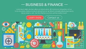 Business and finance flat icons concept. Business infographics template design, web elements, poster banner, Vector. Business and finance flat icons concept Stock Image