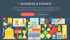 Business and finance flat icons concept. Business infographics template design, web elements, poster banner, Vector. Business and finance flat icons concept Royalty Free Stock Photography