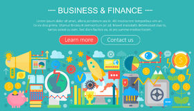 Business and finance flat icons concept. Business infographics template design, web elements, poster banner, Vector. Business and finance flat icons concept Royalty Free Stock Images