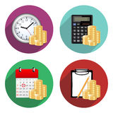 Business and finance flat icons. With long shadow Royalty Free Stock Photos