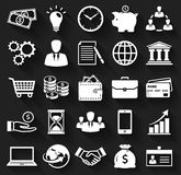 Business and finance flat icons. Vector set. Business, finance and marketing. White flat icons on a black background. Set of 25 concept symbols with long Royalty Free Stock Photos