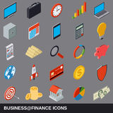 Business and finance flat isometric icons Stock Image