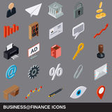 Business and finance flat isometric icons Royalty Free Stock Image