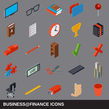 Business and finance flat isometric icons Stock Photography