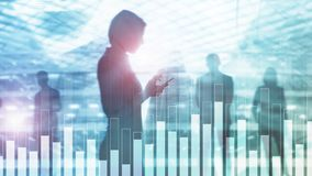 Business and finance graph on blurred background. Trading, investment and economics concept. stock photography