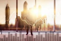 Business and finance graph on blurred background. Trading, investment and economics concept.  stock photos