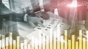 Business and finance graph on blurred background. Trading, investment and economics concept.  royalty free illustration