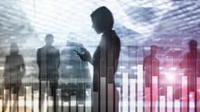 Business and finance graph on blurred background. Trading, investment and economics concept. stock photo