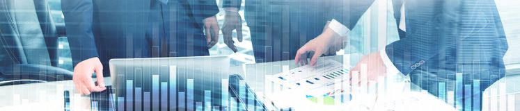 Business and finance graph on blurred background. Trading, investment and economics concept. Website header banner.  stock photo