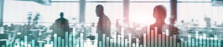 Business and finance graph on blurred background. Trading, investment and economics concept. Website header banner. Business and finance graph on blurred royalty free stock photo