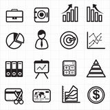 Business finance graph chart icons Stock Photography