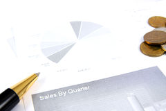 Business finance graphs of a working capitalist Royalty Free Stock Photos