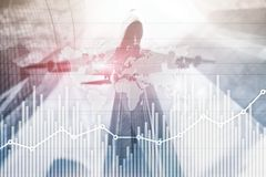 Business finance growth graph chart analysing diagram trading and forex exchange concept double exposure mixed media background. Website header stock photos
