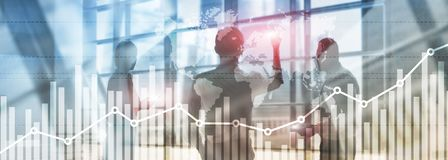 Business finance growth graph chart analysing diagram trading and forex exchange concept double exposure mixed media background. Website header royalty free illustration