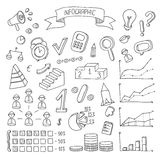 Business and finance hand drawn infographic design. Elements. Doodle vector set Stock Images