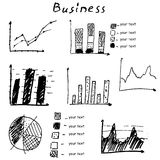 Business finance hand drawn vector elements Royalty Free Stock Images