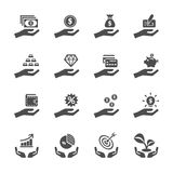 Business and finance hand icon set, vector eps10 Stock Images