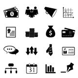 Business and finance icon set. In black Royalty Free Stock Image
