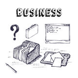 Business and finance icon set. Hand drawn business and finance icon set Royalty Free Stock Photo