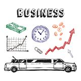 Business and finance icon set. Hand drawn business and finance icon set Royalty Free Stock Photography