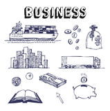 Business and finance icon set. Businessman. Hand drawn business and finance icon set. Businessman Stock Photography