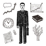 Business and finance icon set. Businessman. Hand drawn business and finance icon set. Businessman Royalty Free Stock Image