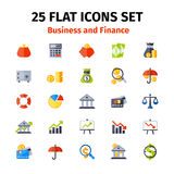 Business and finance icon set in flat Royalty Free Stock Images