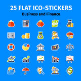 Business and finance icon set in flat Stock Photos