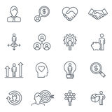 Business and finance icon set. Suitable for info graphics, websites and print media. Black and white flat line icons Stock Photos