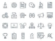 Business and finance icon set. Suitable for info graphics, websites and print media. Black and white flat line icons Royalty Free Stock Photography