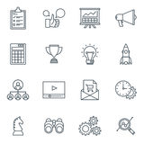 Business and finance icon set. Suitable for info graphics, websites and print media. Black and white flat line icons Stock Images