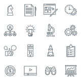 Business and finance icon set. Suitable for info graphics, websites and print media. Black and white flat line icons Stock Photo