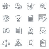 Business and finance icon set. Suitable for info graphics, websites and print media. Black and white flat line icons Stock Image