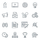 Business and finance icon set. Suitable for info graphics, websites and print media. Black and white flat line icons Royalty Free Stock Photos