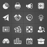 Business and finance icons on black set 1. Vector Royalty Free Stock Photography