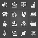 Business and finance icons on black set 2. Vector. Illustration Stock Image