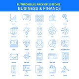Business and Finance Icons - Futuro Blue 25 Icon pack vector illustration