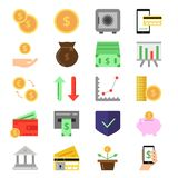 Business and finance icons set. B2c and b2b symbols. Pictures of money and coins. Finance money, coin and cash currency. Vector illustration Stock Image