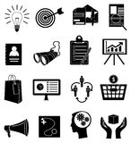 Business finance icons set. In black Stock Images