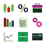 Business and finance icons set. Flat Royalty Free Stock Photography