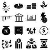 Business finance icons set Stock Photos