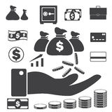 Business finance icons set, Money and Credit icons Stock Photos