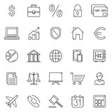 Business and Finance Icons. Set of 25 thin line business and finance icons Stock Image