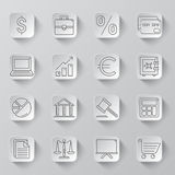 Business and Finance Icons. Set of 16 thin line business and finance icons Royalty Free Stock Images