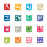 Business and finance icons set and white background Stock Photos