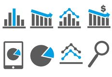 Business and finance icons, trends, charts. Graphs , banking blue and grey Stock Images