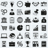 Business and finance icons. Vector set. Business, finance and marketing icons. Set of 36 concept symbols. Collection of silhouette black elements for your Royalty Free Stock Images